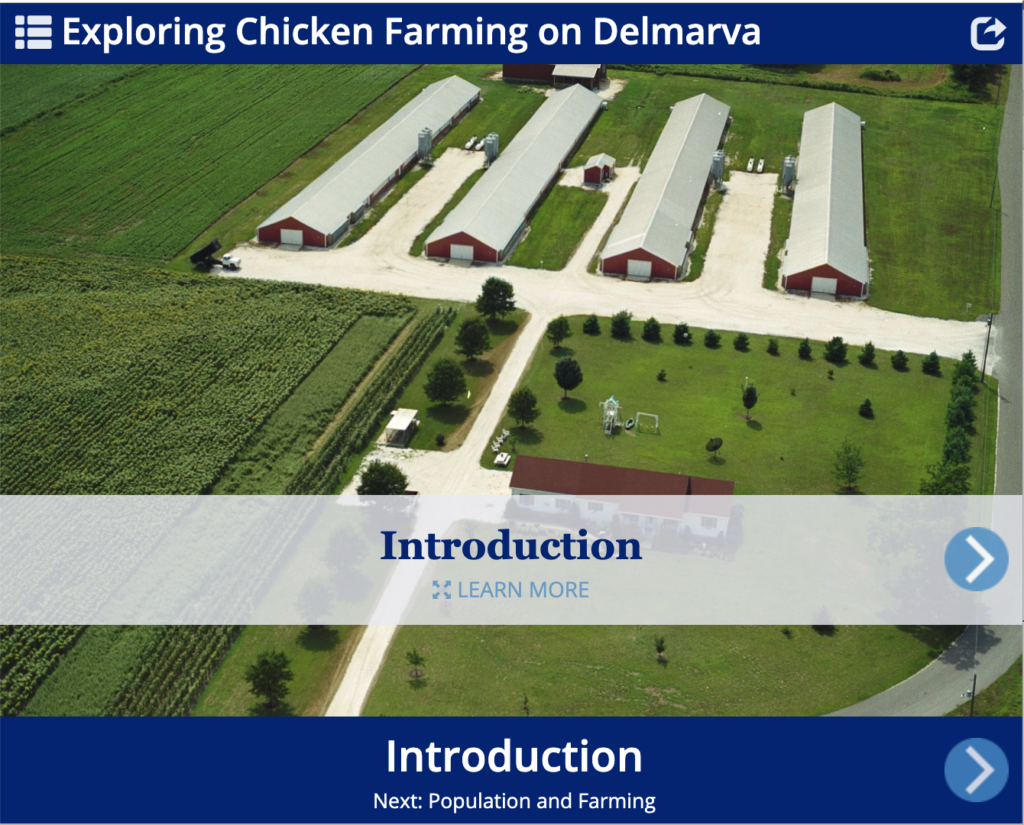 Front page of the Exploring Chicken Farming on Delmarva storyboard with an aerial picture of a chicken farm.